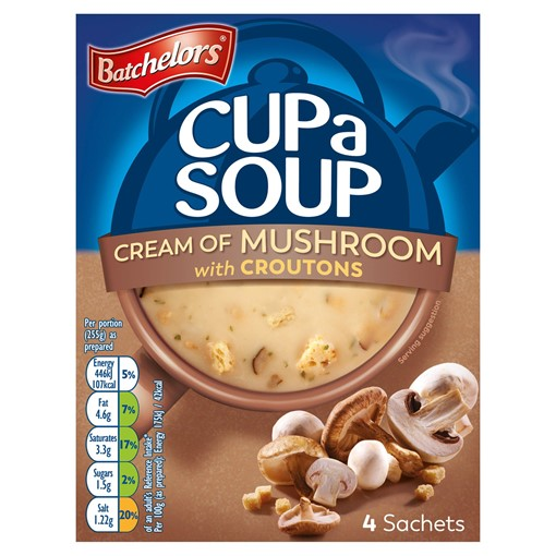 Picture of Batchelors Cup a Soup Cream of Mushroom with Croutons 4 Sachets 99g