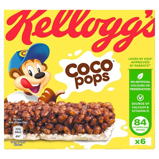 Picture of Kellogg's Coco Pops Cereal Bars 6 x 20g (120g)
