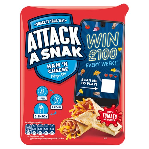 Picture of Attack a Snak Ham 'n Cheese Wrap Kit! with Tomato Ketchup 99g