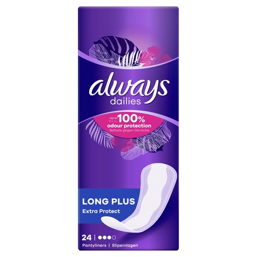 Picture of Always Dailies Extra Protect Panty Liners Long Plus x 24