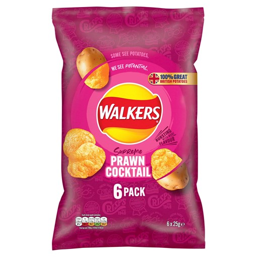 Picture of Walkers Prawn Cocktail Multipack Crisps 6 x 25g