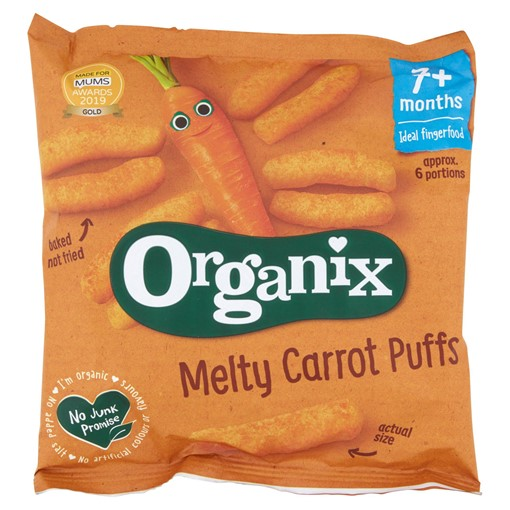 Picture of Organix Melty Carrot Puffs Organic Baby Finger Food Snack 20g