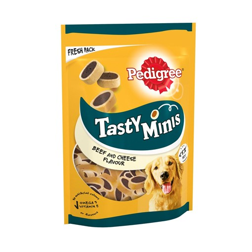 Picture of Pedigree Tasty Minis Adult Dog Treats Cheese & Beef Nibbles 140g