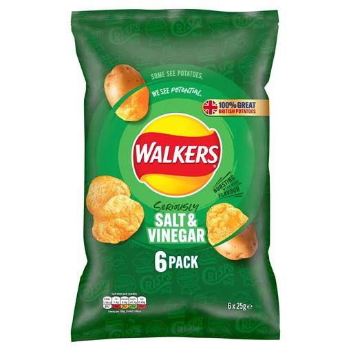 Picture of Walkers Salt & Vinegar Multipack Crisps 6 x 25g