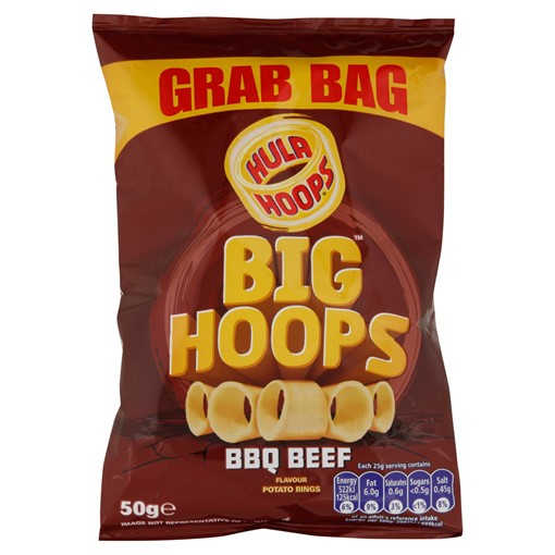 Picture of Hula Hoops Big Hoops BBQ Beef Flavour Potato Rings 50g