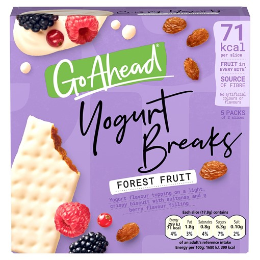 Picture of Go Ahead! Yogurt Breaks Forest Fruit Biscuits Bars 5 Pack (178g)