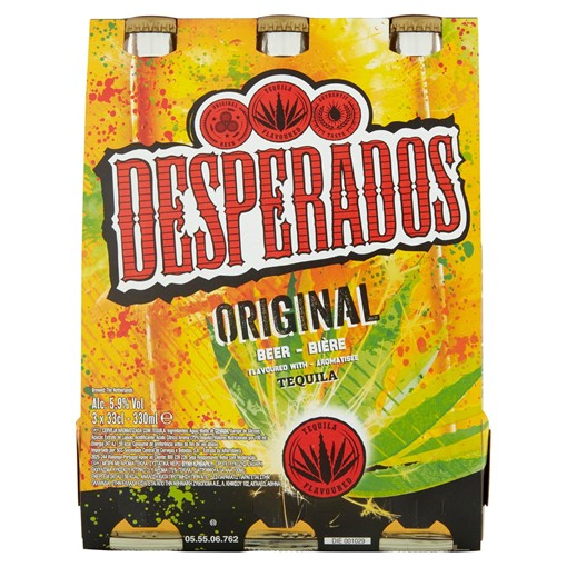 Picture of Desperados Tequila Lager Beer 3 x 330ml Bottles