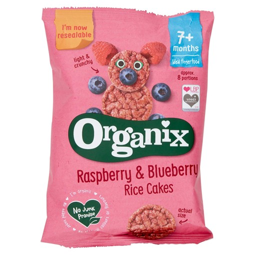 Picture of Organix Raspberry & Blueberry Organic Baby Finger Food Snack Rice Cakes 50g