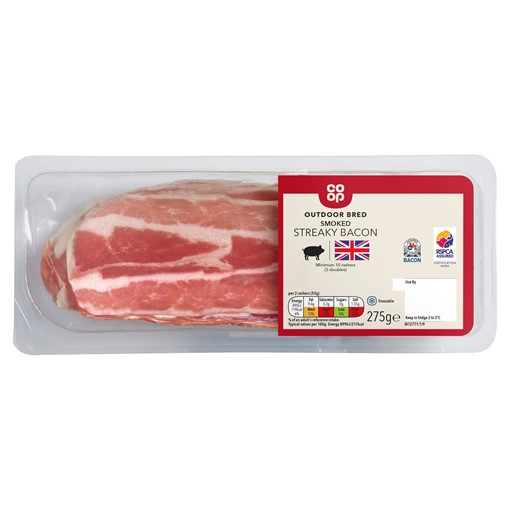 Picture of Co Op Outdoor Bred British Smoked Rindless Streaky Bacon 275g