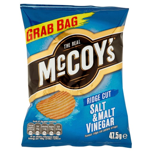 Picture of The Real McCoy's Salt & Malt Vinegar Flavour Ridge Cut Potato Crisps 47.5g