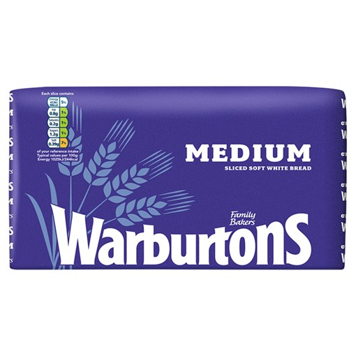 Picture of Warburtons Medium Sliced Soft White Bread 800g