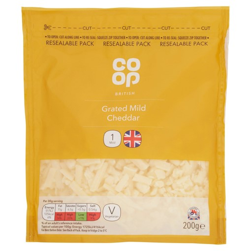 Picture of Co Op British Grated Mild Cheddar 200g