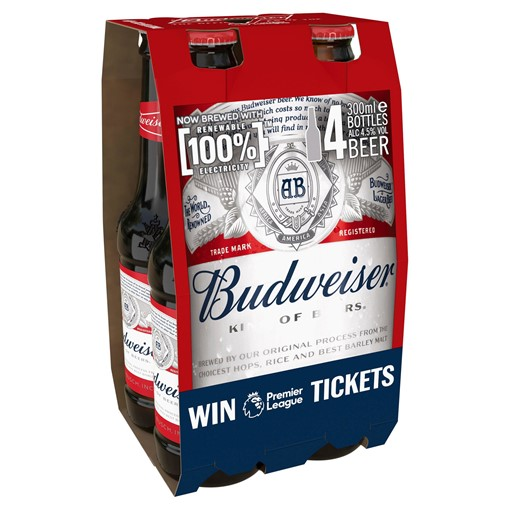Picture of Budweiser Lager Beer Bottles 4 x 300ml