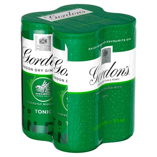 Picture of Gordon's London Dry Gin and Tonic 4 x 250ml Ready to Drink Premix Can Multipack