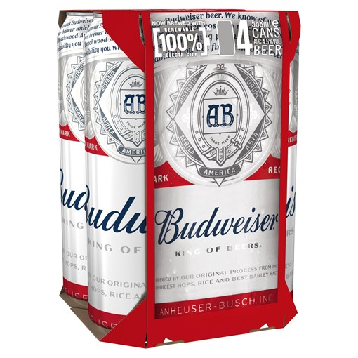 Picture of Budweiser Lager Beer Cans 4 x 568ml