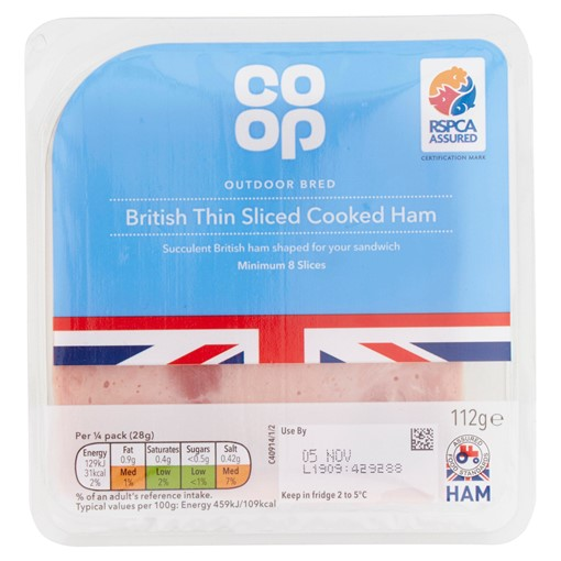 Picture of Co Op Outdoor Bred British Thin Sliced Cooked Ham 8 Slices 112g