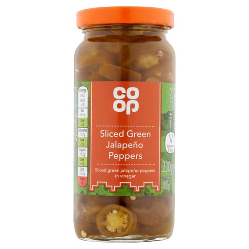 Picture of Co-op Sliced Green Jalapeño Peppers 230g