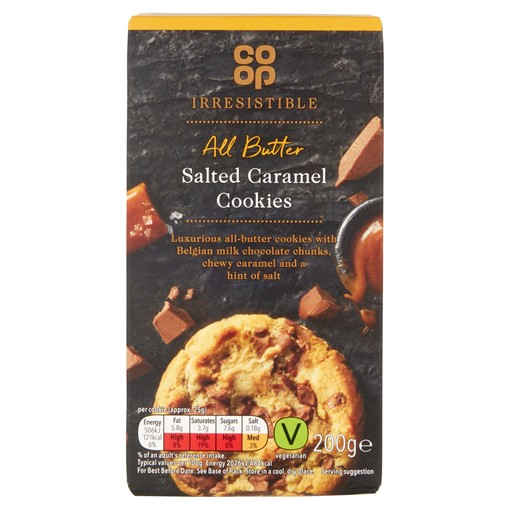Picture of Co-op Irresistible All Butter Salted Caramel & Chocolate Cookies 200g