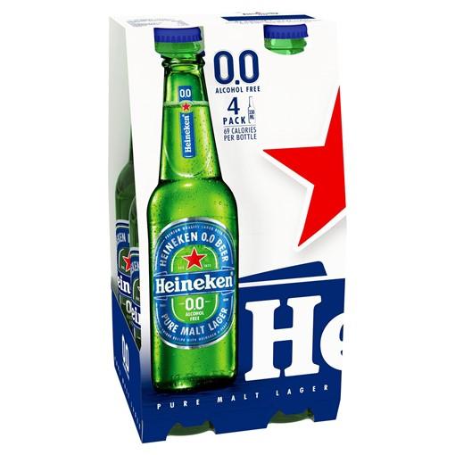 Picture of Heineken 0.0 Lager Beer 4 x 330ml Bottles