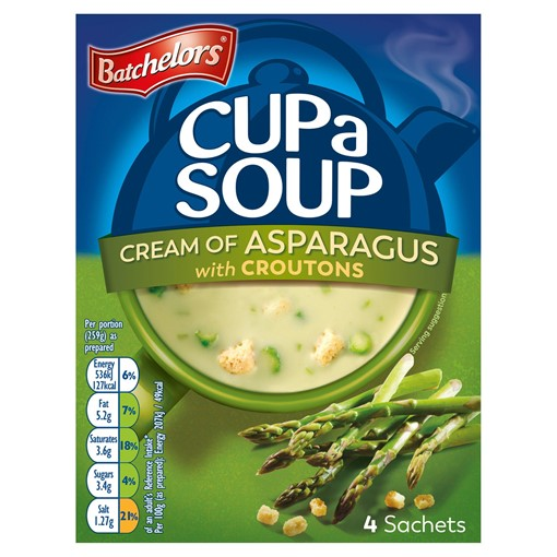Picture of Batchelors Cup a Soup Cream of Asparagus with Croutons 4 Pack 117g