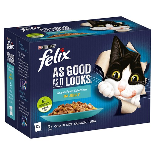 Picture of FELIX AS GOOD AS IT LOOKS OCEAN FEASTS Fish Selection in Jelly Wet Cat Food 12 x 100g