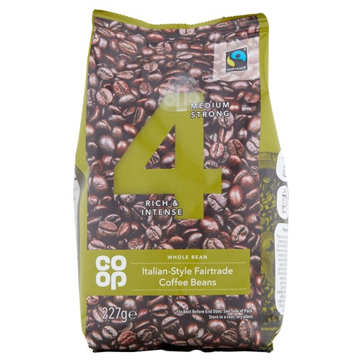 Picture of Co Op Whole Bean Italian Style Fairtrade Coffee Beans 227g