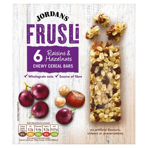 Picture of Jordans Frusli Raisins & Hazelnuts Chewy Cereal Bars 6 x 30g (180g)