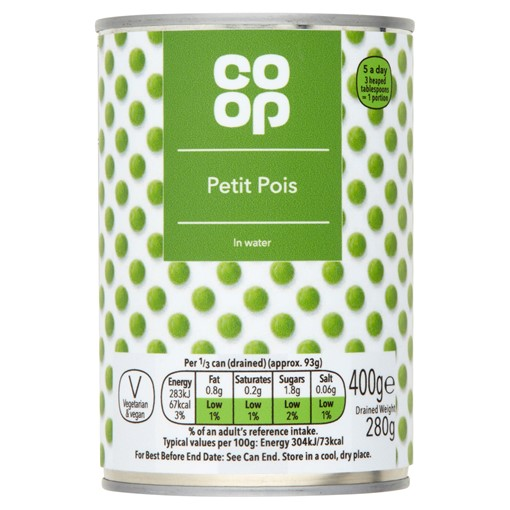 Picture of Co Op Petit Pois in Water 400g