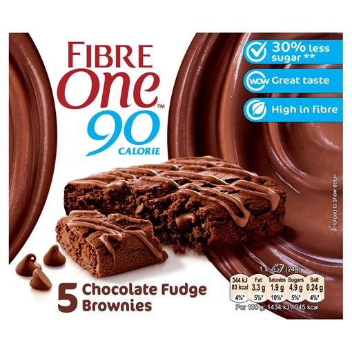 Picture of Fibre One 90 Calorie Chocolate Fudge High Fibre Brownies 5 x 24g