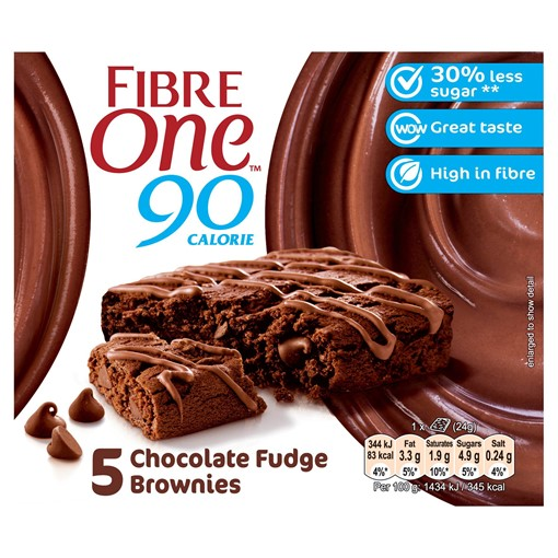 Picture of Fibre One 90 Calorie Chocolate Fudge Brownies 5 x 24g (120g)