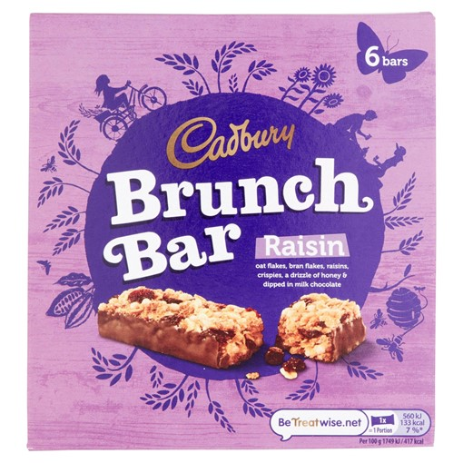 Picture of Cadbury Brunch Bar Raisin 6 Pack 192g