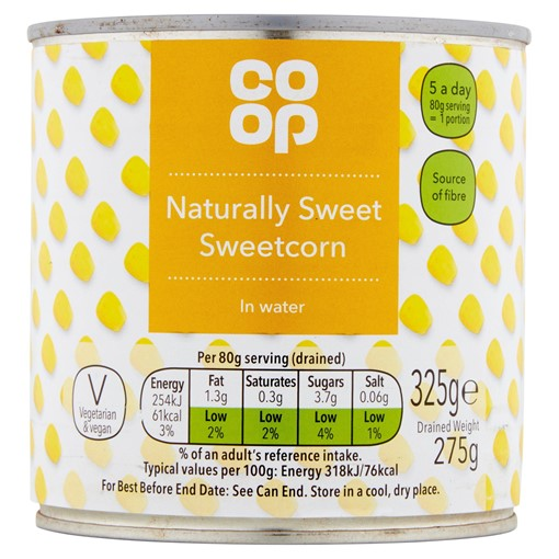 Picture of Co Op Naturally Sweet Sweetcorn in Water 325g