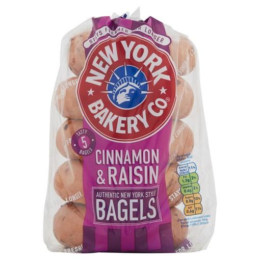 Picture of New York Bakery Co. 5 Cinnamon & Raisin Bagels Fresher for Longer 425g