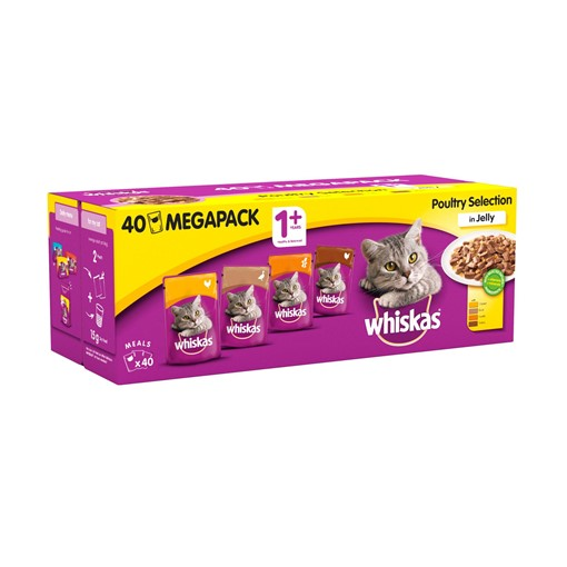 Picture of Whiskas Adult 1+ Wet Cat Food Pouches Poultry in Jelly Mega Pack 40 x 100g