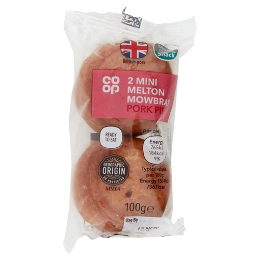 Picture of Co-op 2 Mini Melton Mowbray Pork Pies 100g