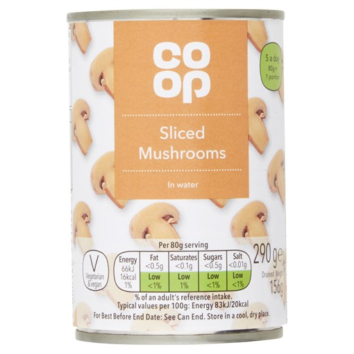 Picture of Co Op Sliced Mushrooms in Water 290g