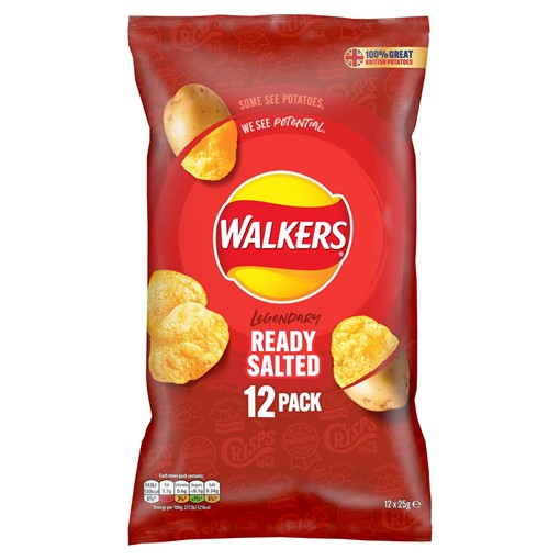 Picture of Walkers Ready Salted Multipack Crisps 12x25g