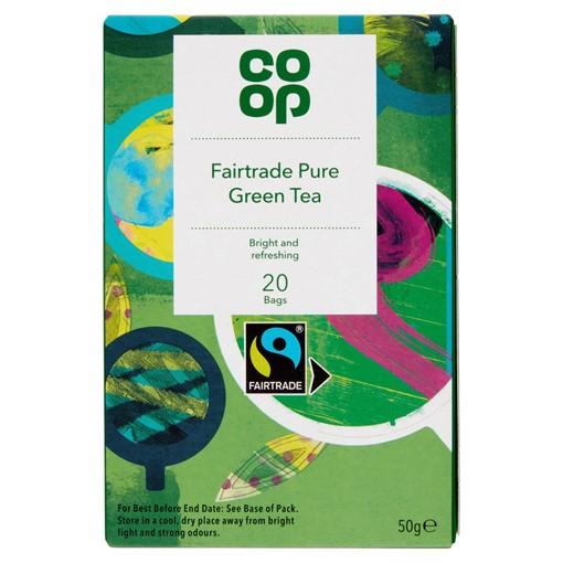 Picture of Co-op Fairtrade Pure Green Tea 20 Tea Bags 50g