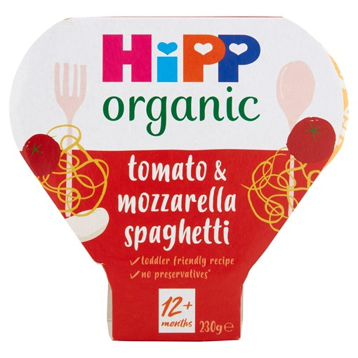 Picture of HiPP Organic Squiggly Spaghetti with Tasty Tomato and Mozzarella Sauce Tray 1-3 Years 230g