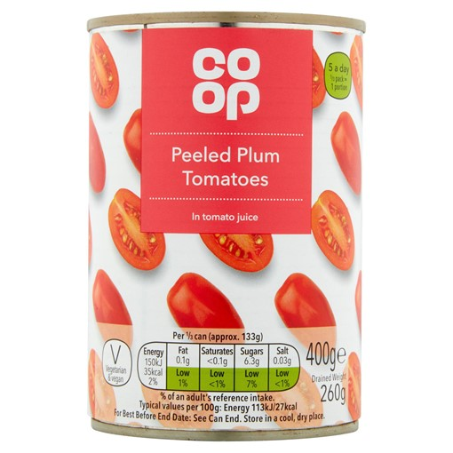 Picture of Co Op Peeled Plum Tomatoes in Tomato Juice 400g
