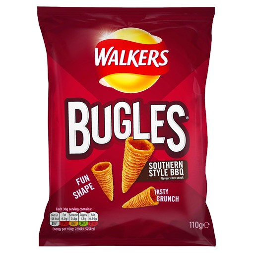 Picture of Walkers Bugles Southern Style BBQ Sharing Snacks 110g