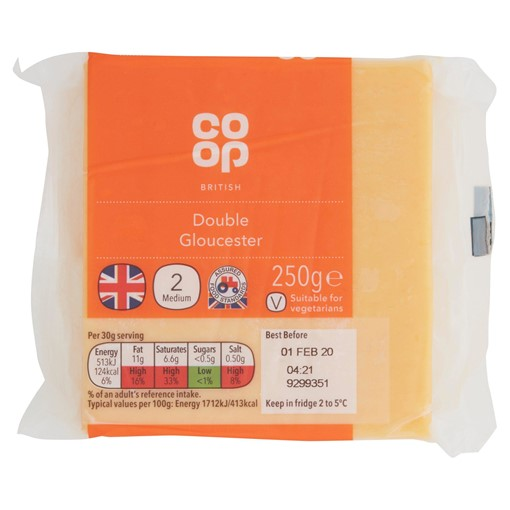 Picture of Co Op British Double Gloucester 250g