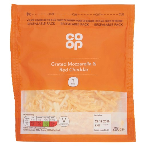 Picture of Co Op Grated Mozzarella & Red Cheddar 200g