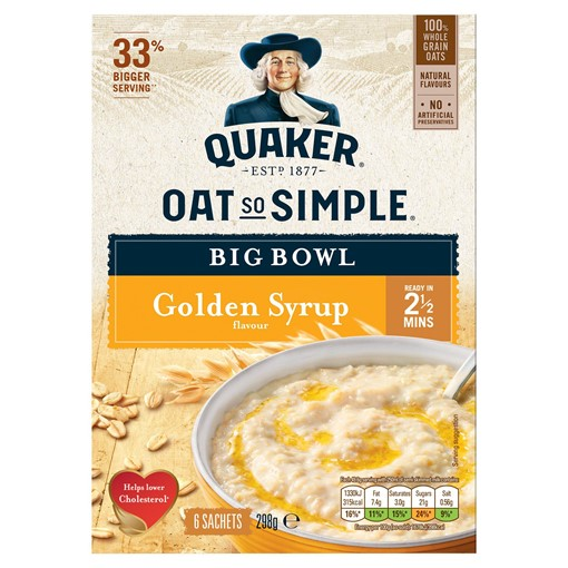 Picture of Quaker Oat So Simple Big Bowl Golden Syrup Porridge Sachets 6x49.6g