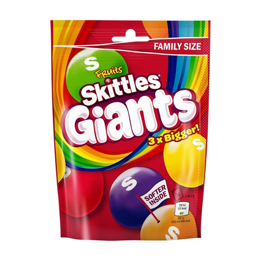Picture of Skittles Giants Fruit Sweets Pouch Bag 170g
