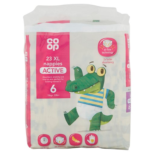 Picture of Co-op 6 Active XL 15kg+ 33lb+ 19 Nappies