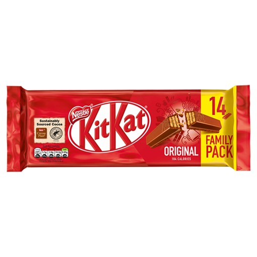 Picture of Kit Kat 2 Finger Milk Chocolate Biscuit Bar Multipack 14 Pack
