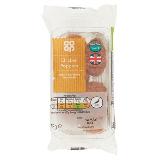 Picture of Co Op Chicken Poppers 72g