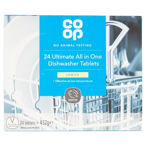 Picture of Co-op 24 Ultimate All in One Dishwasher Tablets Lemon 432g