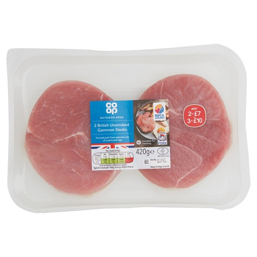 Picture of Co Op Outdoor Bred 2 British Unsmoked Gammon Steaks 420g